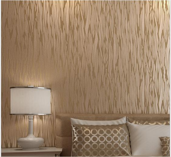 European Modern Brief Light Brown Woven Wallpaper Bedroom TV Background For Living Room Free Shipping