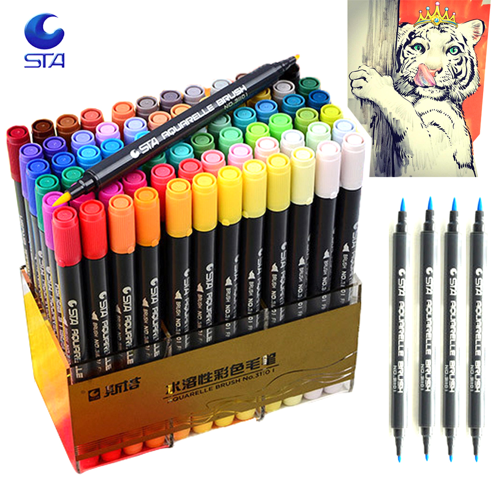 12/24/36/48/80 Water Colors Soft Double Headed Sketch Marker Water Brush Designers Marker Pen Colors Set Art Copic Marker touchnew 60 colors artist dual head sketch markers for manga marker school drawing marker pen design supplies 5type