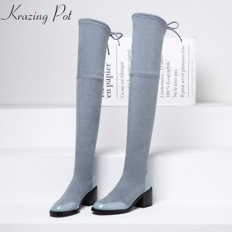 Krazing หม้อ 2019 วัสดุกำมะหยี่หนังแท้รอบ toe ทั้งหมดตรงกับผู้หญิงส้นสูงรองเท้ายืด bowtie ต้นขาสูงรองเท้า L1f2-ใน รองเท้าบู๊ทเหนือเข่า จาก รองเท้า บน   1