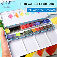 Фотография Paul Rubens 24Colors Solid Watercolor Paint Set Iron Box Bright Color Portable Watercolor Pigment Set For Students Outdoor