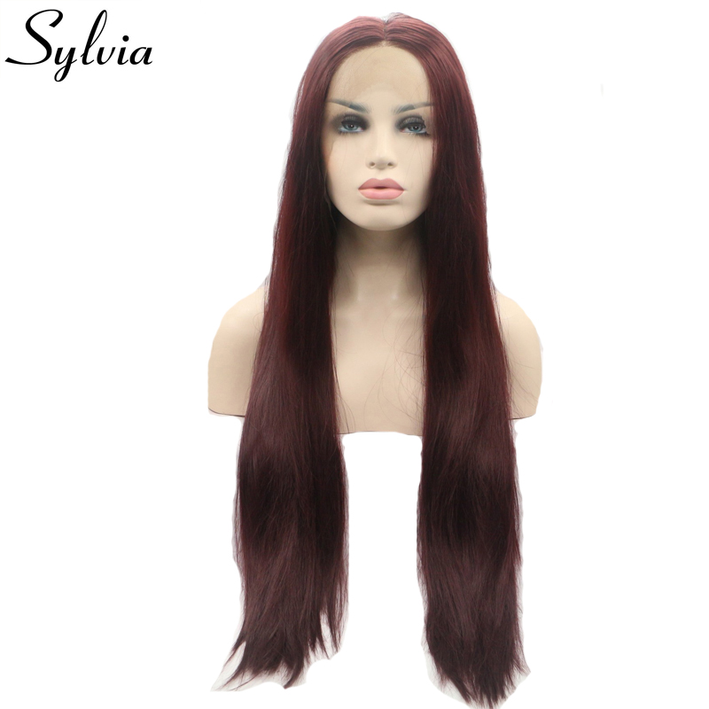 Sylvia 99J Silky Straight Synthetic Lace Front Wigs Wine Red Long Natural Glueless Heat Resistant Fiber