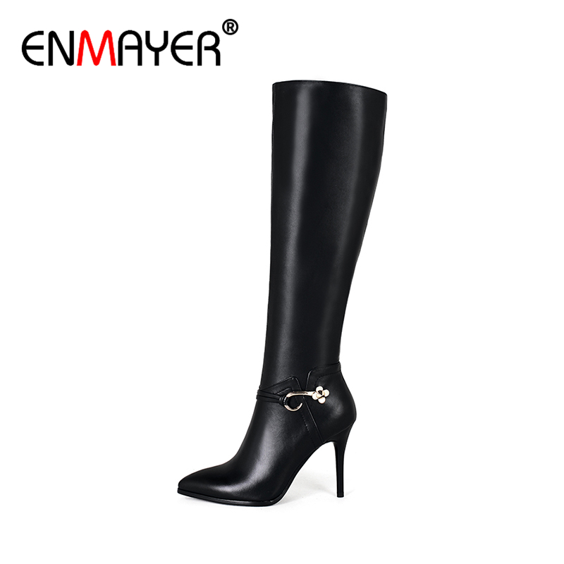 ФОТО ENMAYER Genuine Leather Shoes for Women Over-the-Knee High Heels Pumps Zip Platforms Spring/Autumn Women Warm Long Boots Black