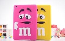 3d de silicona suave de m & m de chocolate case para ipad mini 1 m arco iris beans cubierta para ipad mini 2 mini 3 tablet case coque + película