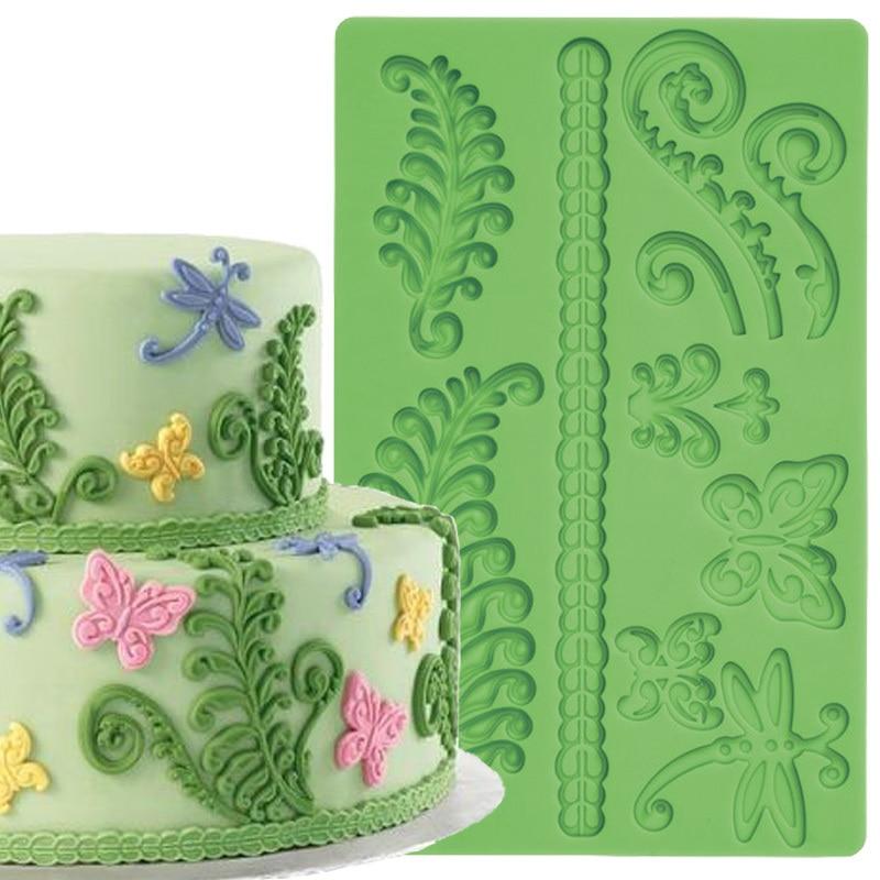 Fern Fondant და Gum Paste Cake Border Silicone Mould Fondant Cake Decoration Tools
