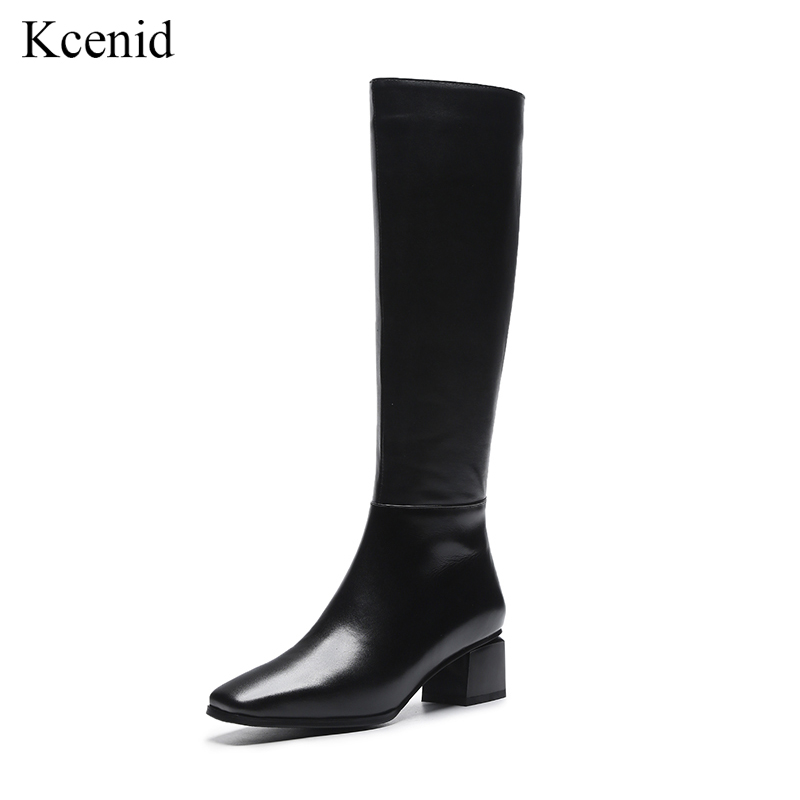 Kcenid Fashion square toe cow leather knee high boots black zipper shoes woman plus size 33-43 med heel warm winter boots women 2017 new women boots square toe fashion knee high boots motorcycle sexy thick high heel boots woman shoes black plus size 34 42
