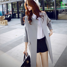 2016 new ladies's spring and autumn lengthy part of Korean women trend cocoon coat large yards unfastened model was skinny coat