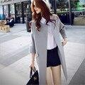2017 новых женщин весной и осенью длинный участок Корейский ladies fashion cocoon пальто больших ярдов свободно версия была тонкая пальто