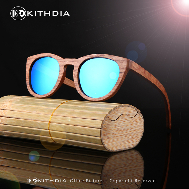 100% Handmade Natural WOOD Natural Bamboo Wooden Sunglasses Handmade Polarized Mirror Coating Lenses Eyewear With Gift Box kd014