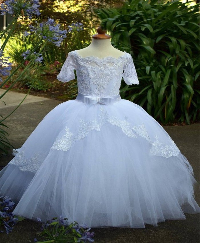 Handmade Luxurious White Flower Girl Dress With A Train Tulle Lace