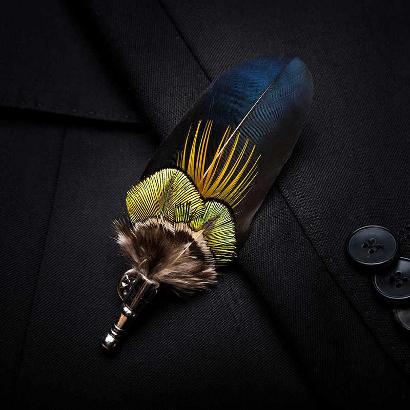 JEMYGINS 100% piuma spilla spilla foglia di uomini e monili delle donne bow tie set contenitore di regalo di alta qualità del pavone di pin da sposa show party