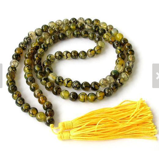 8MM Yellow Dragon Vein Agate 108 Rosary Prayer Beads Tibet Buddhist Mala Necklace