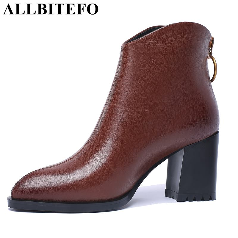 ALLBITEFO new fashion brand genuine leather high heels ankle boots women high-heeled women boots winter girls motorcycle boots цены