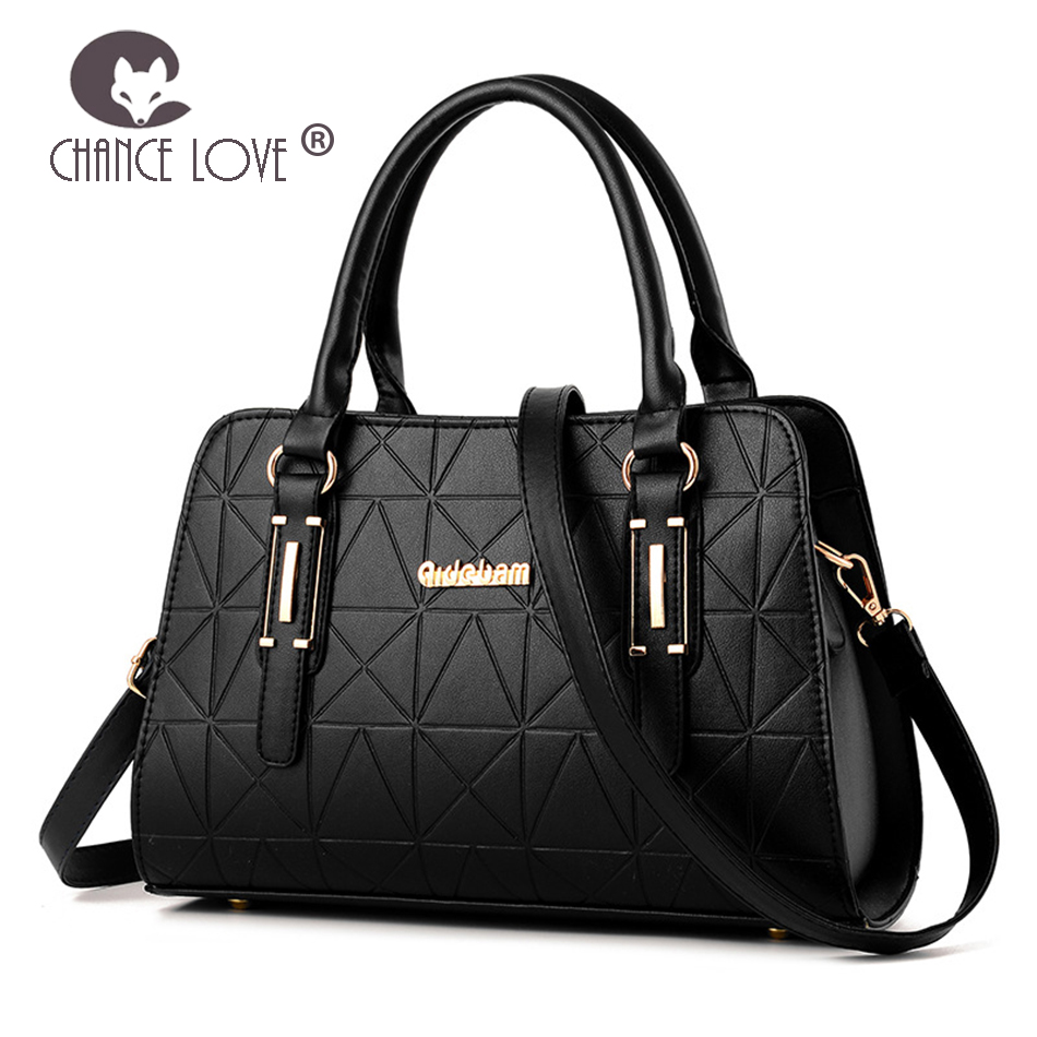 Chance Love 2018 women Pu Leather handbag fashion ladies bag embossed rhombic black gray shoulder Messenger bag casual tote embossed pu leather casual 3 pieces tote bag set
