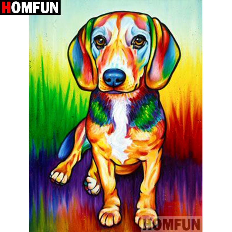 HOMFUN Full Square Round Drill 5D DIY Diamond Painting quot Color dog quot Embroidery Cross Stitch 3D Home Decor A10542 in Diamond Painting Cross Stitch from Home amp Garden