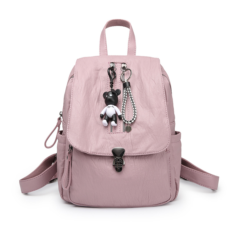 Fashion Genuine Leather Backpack Women Bags Preppy Style Backpack Girls School Bags Zipper Soft Leather Backpack