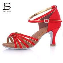 Niñas señoras mujer zapatos de baile latino Salsa nudo rojo satén Tango  Samba zapatos de baile 5 cm y 7 cm tacón alto salón de b. d0df1867420b