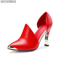 2018 genuine leather women pumps metal decoration poined toe dress shoes woman thin high heels party wedding ladies shoes