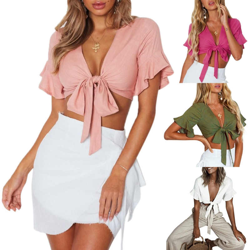 Women's Ruffle Short Sleeve Crop   Tank     Tops   Bow Tie Open Front Sexy Shirt Blouse