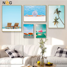 NOOG Canvas Poster  Sea Scenery Coconut Tree Wall Art Nordic Poster Holiday Beach Pictures Living Room Canvas Painting Unframed