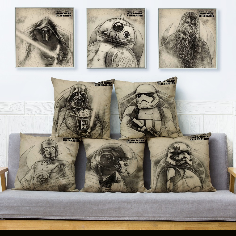 Beige Linen Cushion Cover Sketch Star War Print Pillow Covers 45*45 Square Throw Pillows Cases Sofa Home Decor Pillowcase