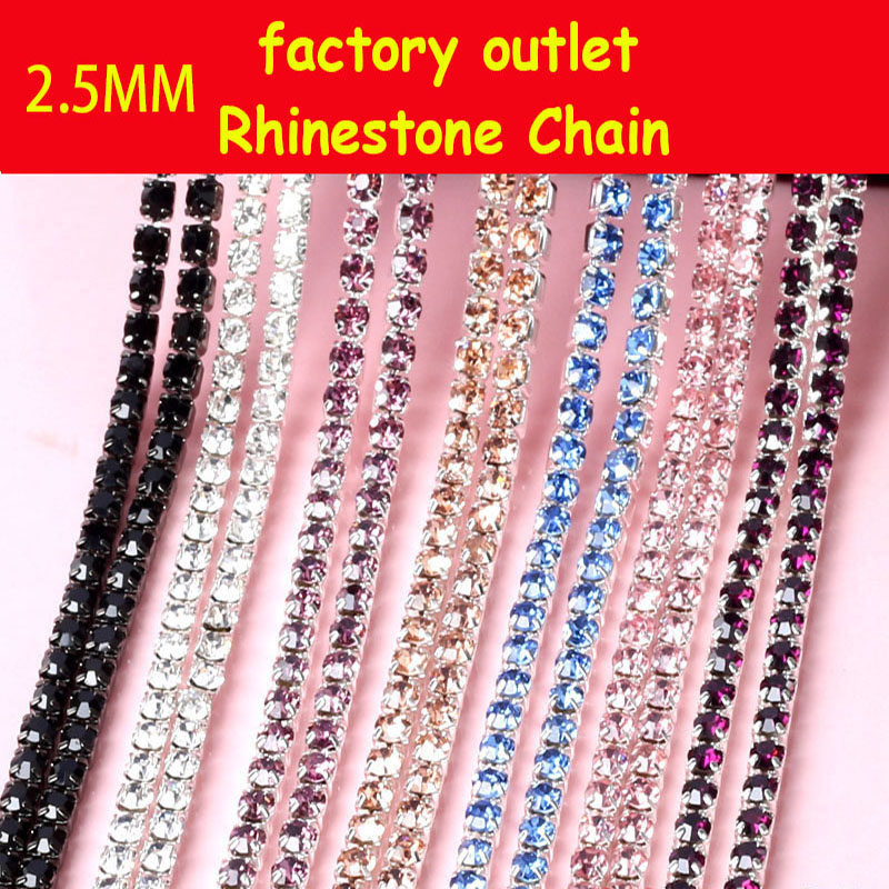 2.5 MM 5 Yard / roll Hoge kwaliteit diamant strass ketting factory outlet