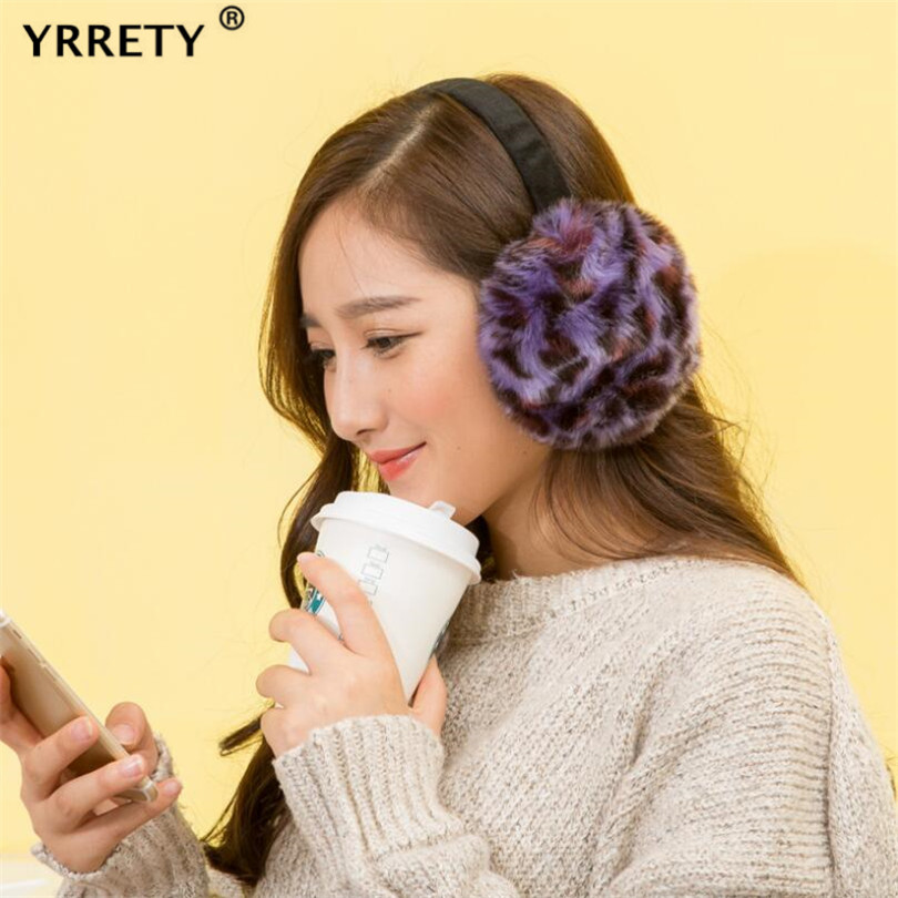 YRRETY Autumn And Winter Warm Earmuffs And Comfortable Men Women Ski Sports Earmuffs Leopard Ear Warmer Soft Plush Adult Outdoor