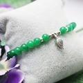 6mm Verde Malay Jade contas Calcedônia Naturais Retro Folha Pingente De Pedra cadeia mão Pulseira para as mulheres meninas Jóias Design