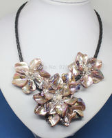 FREE SHIPPING>>>@@ > Wholesale Free P&P****brown mother of pearl shell flower necklace 18long Fashion Jewelry gem stone