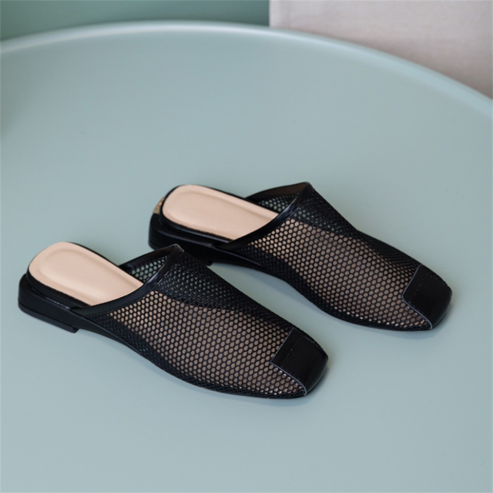 2019 summer women 39 s slippers high quality breathable mesh fabric sandals leather comfortable inner female slippers in Slippers from Shoes