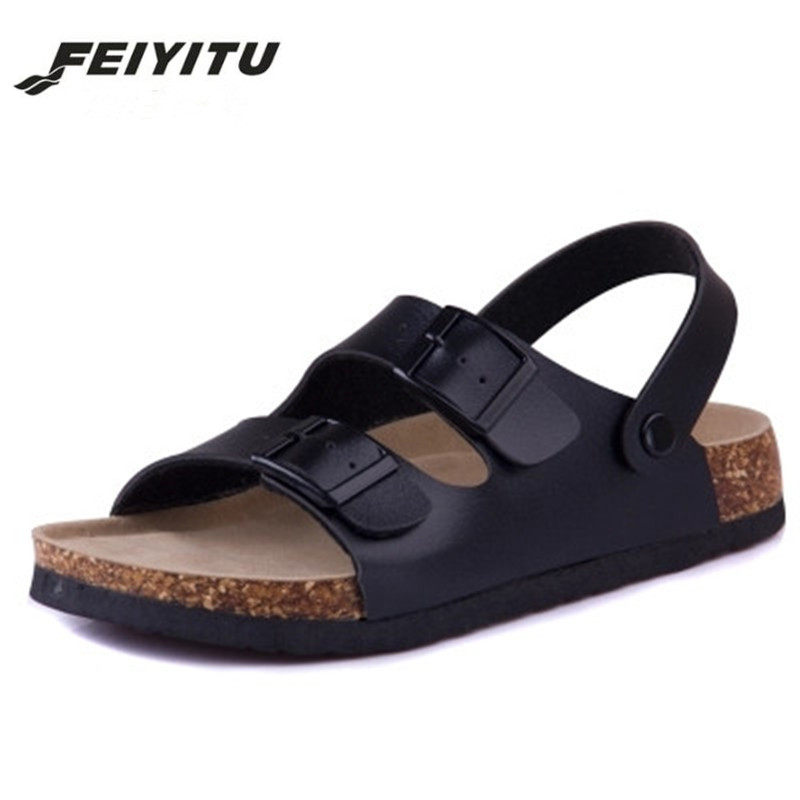 FeiYiTu Cork New Summer style Fashion Men Flats Slippers unisex Beach Shoes Man Sandals Black white brown Flip flops size 35-43 fashion women slippers flip flops summer beach cork shoes slides girls flats sandals casual shoes mixed colors plus size 35 43