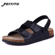 FeiYiTu Cork New Summer style Fashion Men Flats Slippers unisex Beach Shoes Man Sandals Black white brown Flip flops size 35-43