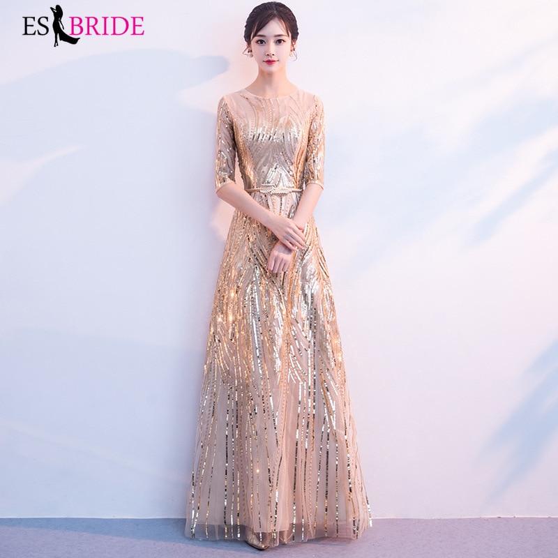 Luxury   Evening     Dresses   Long Fashion Gorgeous Gold Shiny Bead Piece   Evening     Dress   Party Elegant A-line Robe De Soiree ES2611