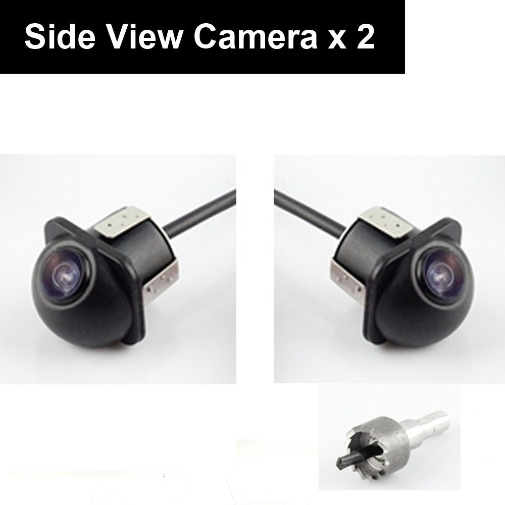 где купить Pair Car Auto 20mm Hole Drilling Side View Camera Side Mirror Mount Reverse Mirrored Image with No Parking Stereo RCA -Pack of 2 дешево