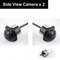 Pair Car Auto 20mm Hole Drilling Side View Camera Side Mirror Mount Reverse Mirrored Image with No Parking Stereo RCA Pack of 2