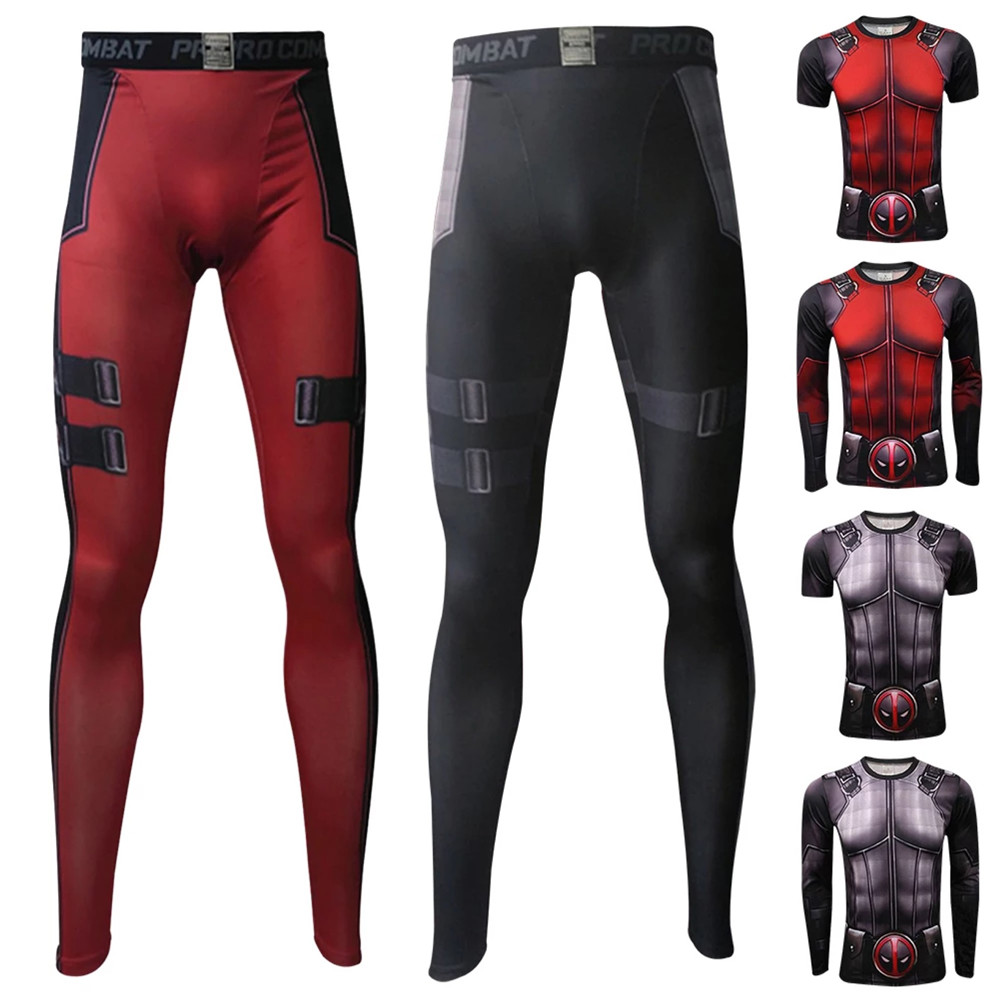 The Avengers Deadpool Gym Suit High School Uniform Sports Wear Quick drying Outfit Tops / Pants Anime Cosplay Costume for men