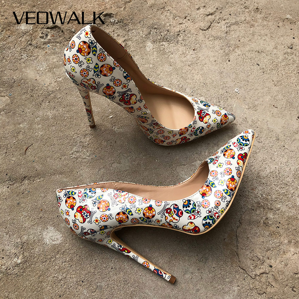 Veowalk White Artistic Graffiti Colorful Women Pumps Sexy Stiletto High Heels Spring Wedding Party Woman Shoes Sapato Feminino