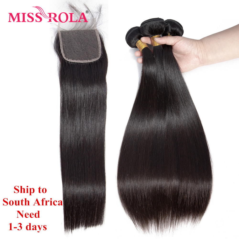 Miss Rola Brazilian Hair Straight 100 Human Hair Bundles with Closure Natural Color Remy Hair 3