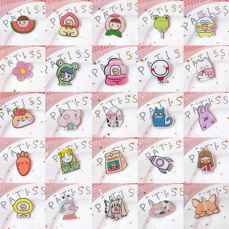 Merah Muda Tersenyum Bros Semangka Acrylic Kartun Babi Cute Carrot Syal Bunga Sweater Hewan Bros Jilbab Bros Mujer Pin