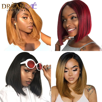 13x4 Lace Front Human Hair Wigs For Black Women Brazilian Remy Hair 1b 613 Blonde Ombre Straight Short Bob Wigs With Baby Hair