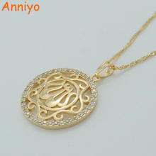 Anniyo Gold Color Zirconia Allah Necklaces for Women CZ Islam Muslim Products Jewelry Arab Pendant Middle Eastern #016004