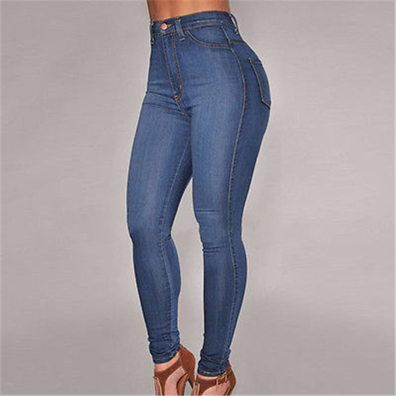 2016 Fashion Sexy Women Denim Skinny Pants High Waist Stretch Jeans Slim Pencil Trousers New jeans woman 2017 korean fashion skinny denim pants high waist double button sexy stretch capris trousers jeans mujer