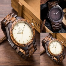 2016 Men's Natural SandalWood Analog Watch Japan MIYOTA Quartz Movement Wooden Wristwatch Dress Watches For Unisex as Gifts Item