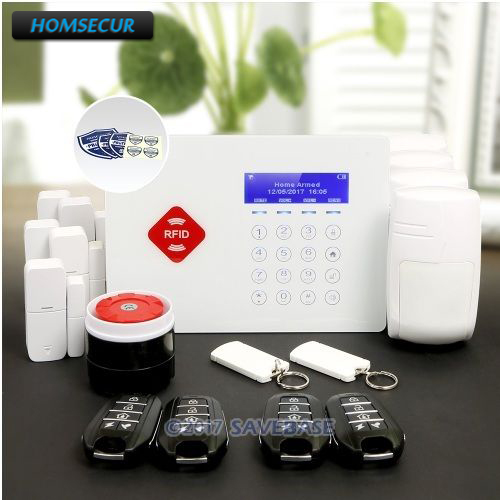HOMSECUR App Controlled Wireless GSM LCD RFID Burglar Alarm System with 4 Pet-Immune PIR +5*Door Sensor ...