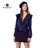 Eileen Elisa Fashion Shirt Women 2017 Autumn Sexy Back Open Blouse Shirts Ruffled