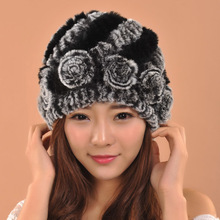 Luxury Winter Women's Genuine Real Knitted Rex Rabbit Fur Hats Lady Warm Caps Female caps Headwear Headdress