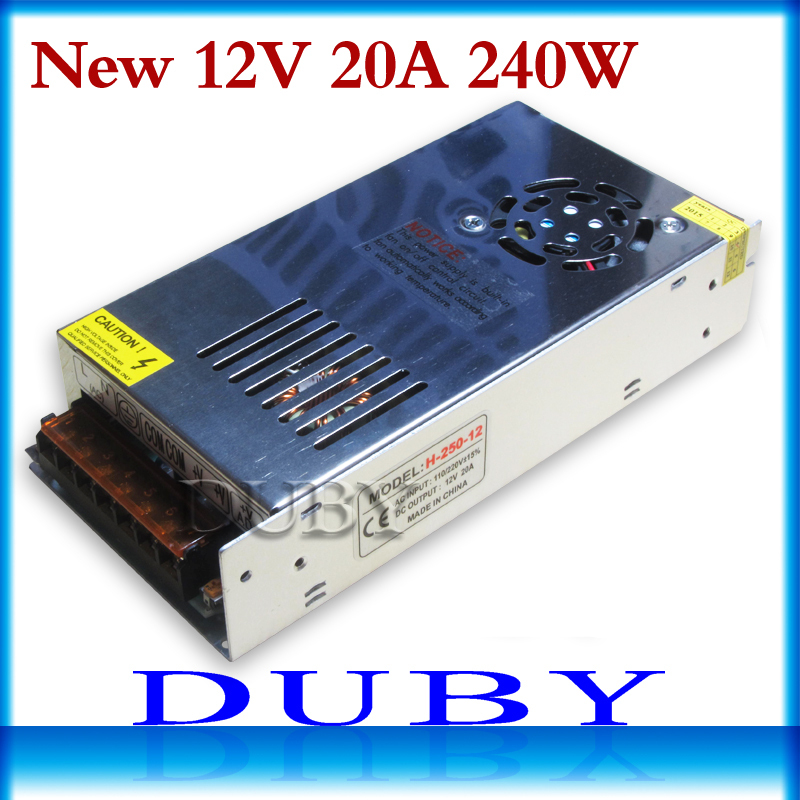 10piece/lot 2015 New 12V 20A 240W Switching Switch Power Supply Driver for LED Strip Lights AC 110-220V Free Fedex new 24v 20a 480w switching switch power supply adapter led driver transformer for led strip lights ac110 220v free shipping