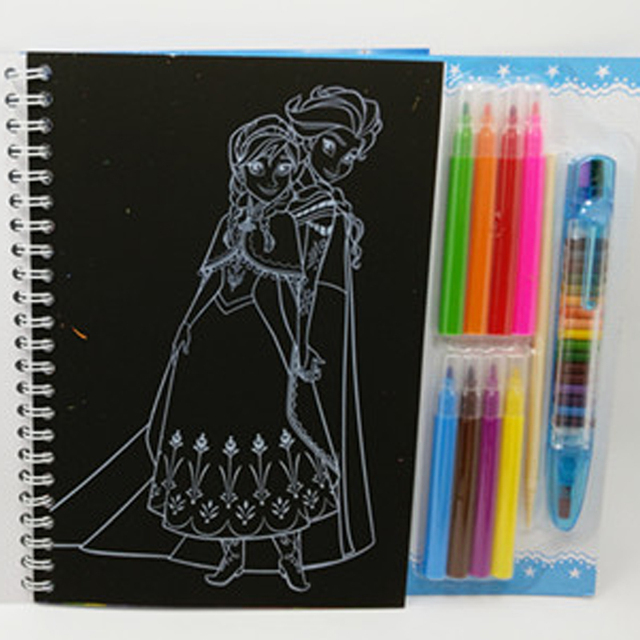 Ice Snow Queen Elsa Anna Drawing Toys Set Scratch Paper Coloring Book Blank Watercolor Pen