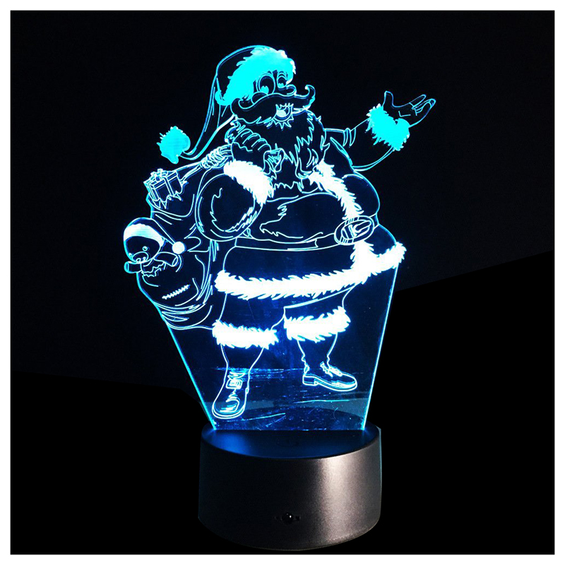 3D Optical Illusion LED Night Light 7-Colors Change Touch Table Desk Lamp & USB Charger for Gifts Transparent (Santa Claus) 3d visual bulb optical illusion colorful led table lamp touch romantic holiday night light love heart wedding gifts