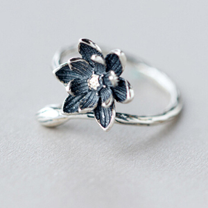QIMING Floral Silver Open Anti