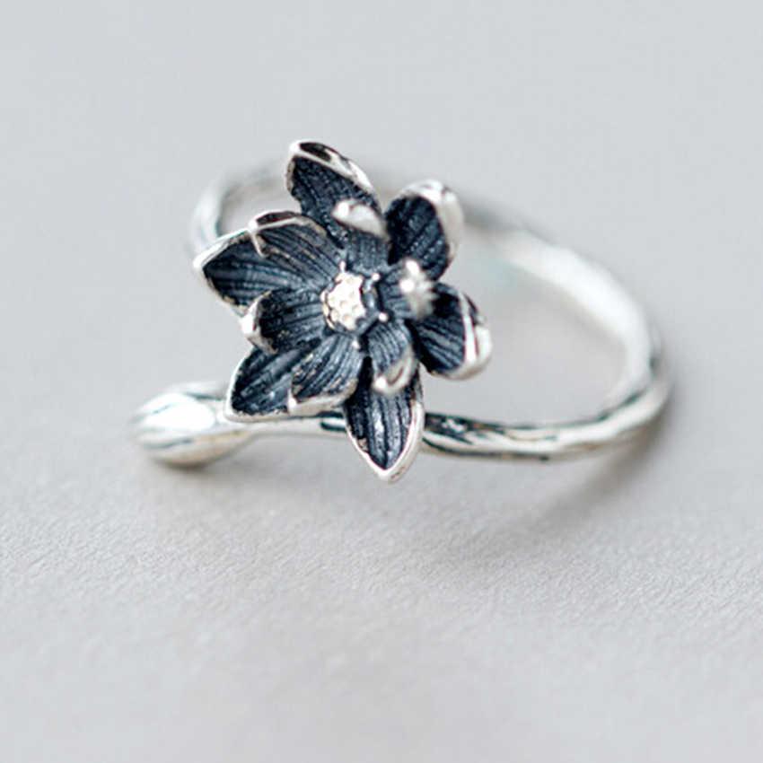QIMING ดอกไม้เงินเปิดแหวนโบราณสำหรับผู้หญิงสไตล์ Retro ดอกไม้ Lotus แหวนป้องกันโรคภูมิแพ้วันคริสต์มาสของขวัญ